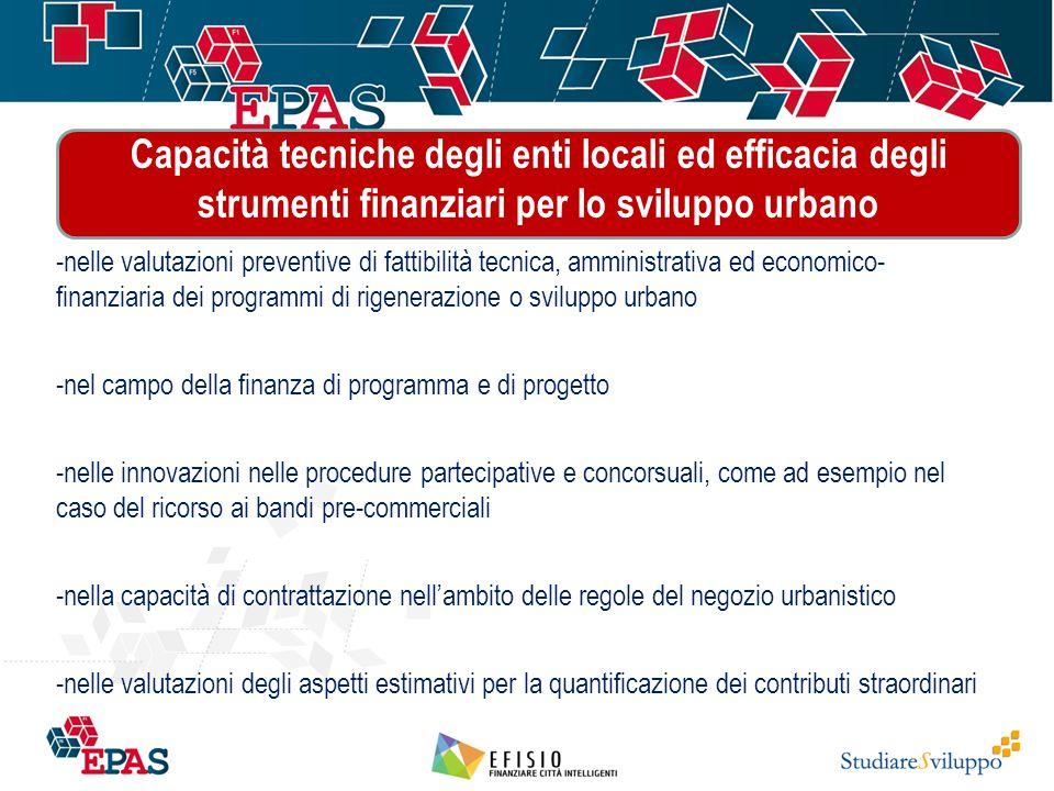 Capacità tecniche degli enti locali ed efficacia degli strumenti finanziari per lo sviluppo urbano …. -nelle valutazioni preventive di fattibilità tec