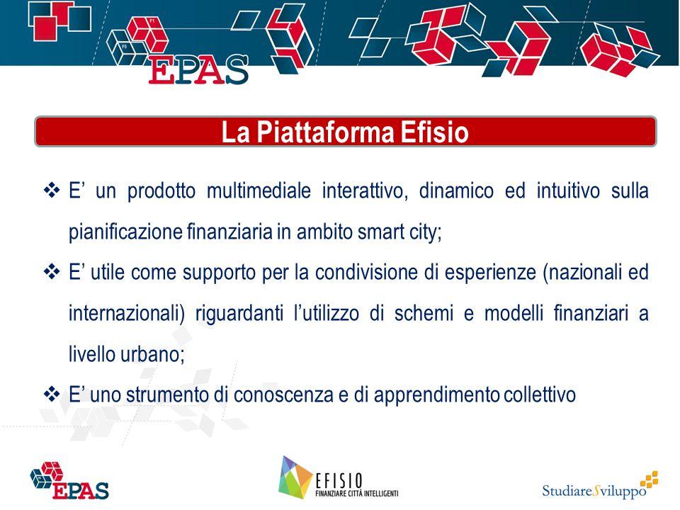  E' un prodotto multimediale interattivo, dinamico ed intuitivo sulla pianificazione finanziaria in ambito smart city;  E' utile come supporto per la condivisione di esperienze (nazionali ed internazionali) riguardanti l'utilizzo di schemi e modelli finanziari a livello urbano;  E' uno strumento di conoscenza e di apprendimento collettivo La Piattaforma Efisio