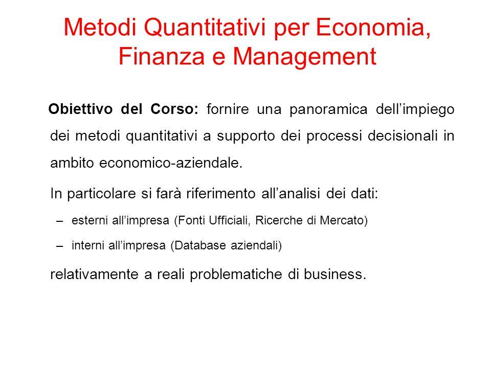 Metodi Quantitativi per Economia, Finanza e Management Obiettivo del Corso: fornire una panoramica dell'impiego dei metodi quantitativi a supporto dei