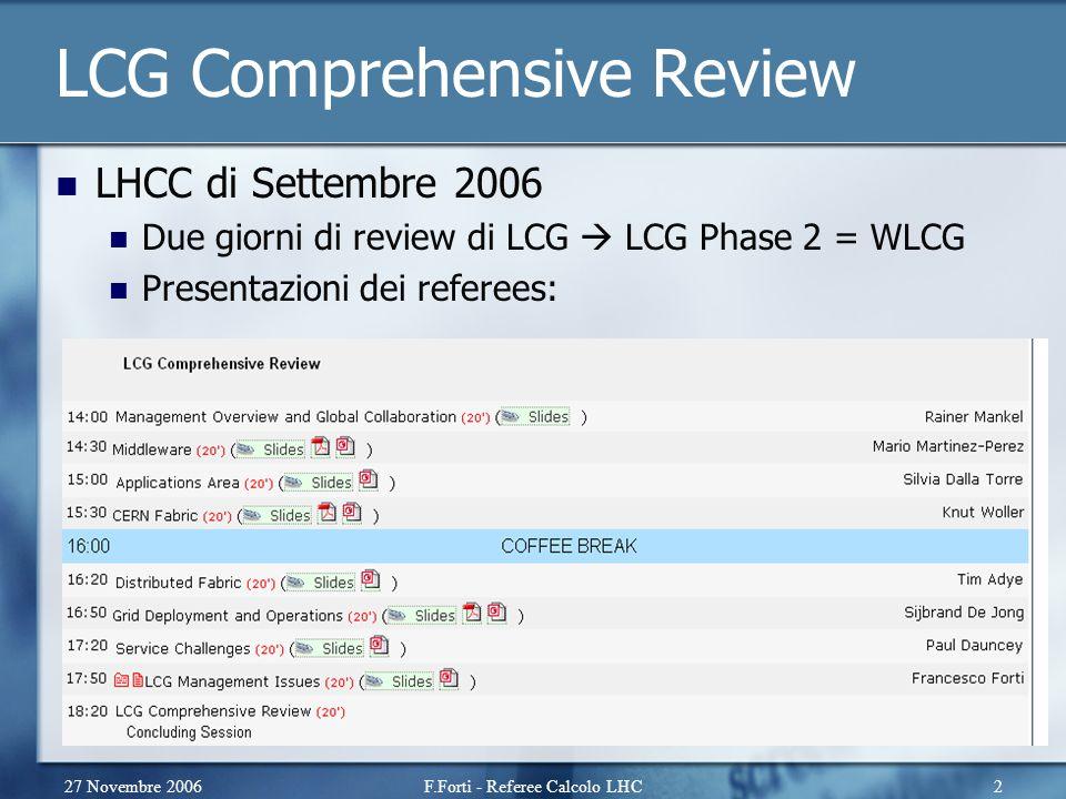 27 Novembre 2006F.Forti - Referee Calcolo LHC2 LCG Comprehensive Review LHCC di Settembre 2006 Due giorni di review di LCG  LCG Phase 2 = WLCG Presentazioni dei referees: