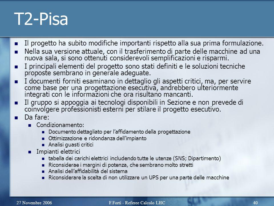 27 Novembre 2006F.Forti - Referee Calcolo LHC40 T2-Pisa Il progetto ha subito modifiche importanti rispetto alla sua prima formulazione.