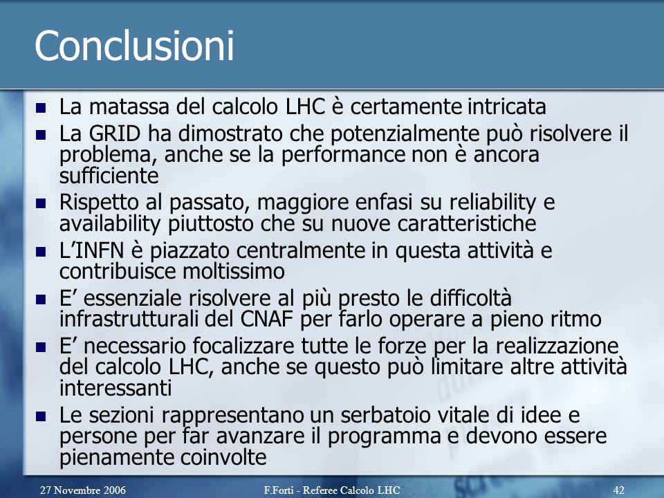 27 Novembre 2006F.Forti - Referee Calcolo LHC42 Conclusioni La matassa del calcolo LHC è certamente intricata La GRID ha dimostrato che potenzialmente può risolvere il problema, anche se la performance non è ancora sufficiente Rispetto al passato, maggiore enfasi su reliability e availability piuttosto che su nuove caratteristiche L'INFN è piazzato centralmente in questa attività e contribuisce moltissimo E' essenziale risolvere al più presto le difficoltà infrastrutturali del CNAF per farlo operare a pieno ritmo E' necessario focalizzare tutte le forze per la realizzazione del calcolo LHC, anche se questo può limitare altre attività interessanti Le sezioni rappresentano un serbatoio vitale di idee e persone per far avanzare il programma e devono essere pienamente coinvolte