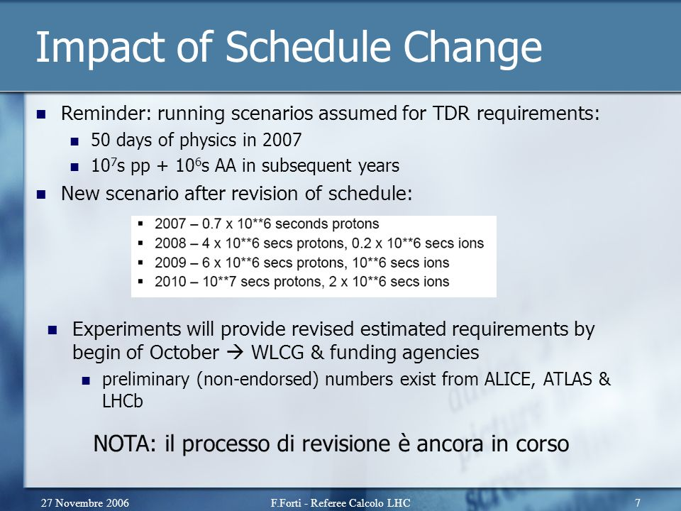 27 Novembre 2006F.Forti - Referee Calcolo LHC7 Impact of Schedule Change Reminder: running scenarios assumed for TDR requirements: 50 days of physics in 2007 10 7 s pp + 10 6 s AA in subsequent years New scenario after revision of schedule: Experiments will provide revised estimated requirements by begin of October  WLCG & funding agencies preliminary (non-endorsed) numbers exist from ALICE, ATLAS & LHCb NOTA: il processo di revisione è ancora in corso