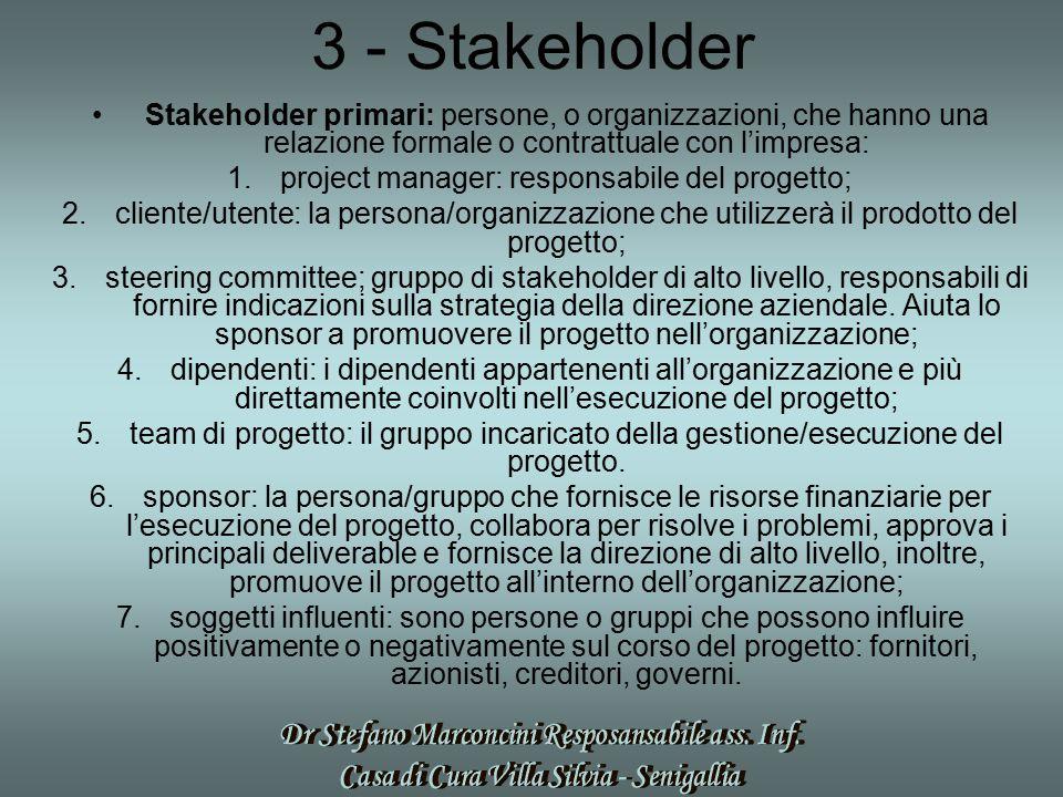 3 - Stakeholder Stakeholder primari: persone, o organizzazioni, che hanno una relazione formale o contrattuale con l'impresa: 1.project manager: respo