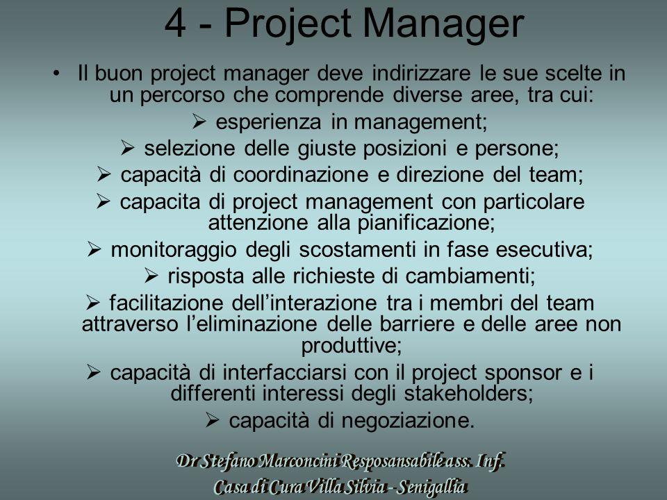 4 - Project Manager Il buon project manager deve indirizzare le sue scelte in un percorso che comprende diverse aree, tra cui:  esperienza in management;  selezione delle giuste posizioni e persone;  capacità di coordinazione e direzione del team;  capacita di project management con particolare attenzione alla pianificazione;  monitoraggio degli scostamenti in fase esecutiva;  risposta alle richieste di cambiamenti;  facilitazione dell'interazione tra i membri del team attraverso l'eliminazione delle barriere e delle aree non produttive;  capacità di interfacciarsi con il project sponsor e i differenti interessi degli stakeholders;  capacità di negoziazione.