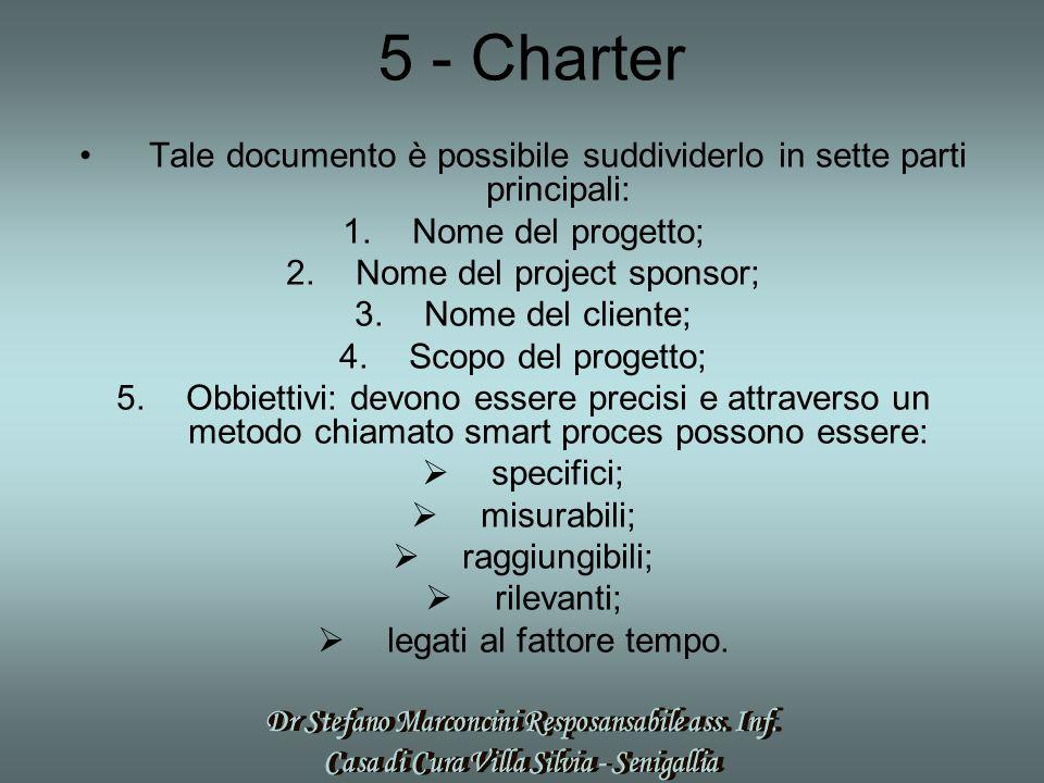 5 - Charter Tale documento è possibile suddividerlo in sette parti principali: 1.Nome del progetto; 2.Nome del project sponsor; 3.Nome del cliente; 4.Scopo del progetto; 5.Obbiettivi: devono essere precisi e attraverso un metodo chiamato smart proces possono essere:  specifici;  misurabili;  raggiungibili;  rilevanti;  legati al fattore tempo.