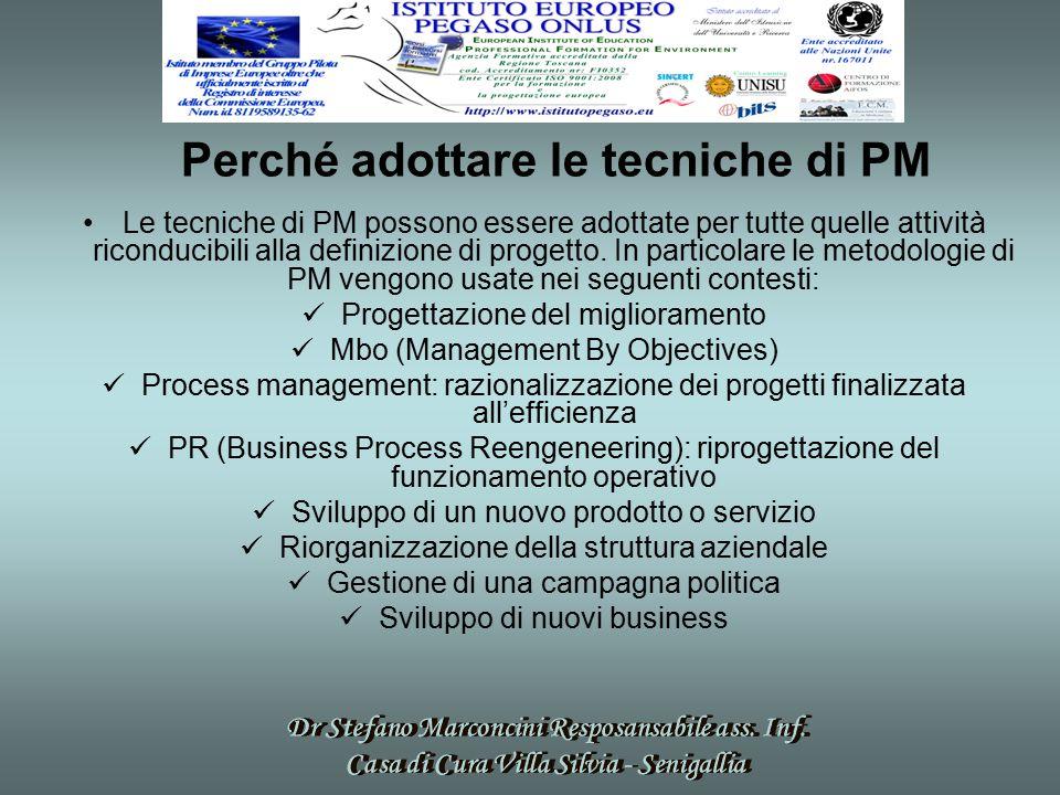 Perché adottare le tecniche di PM Le tecniche di PM possono essere adottate per tutte quelle attività riconducibili alla definizione di progetto.