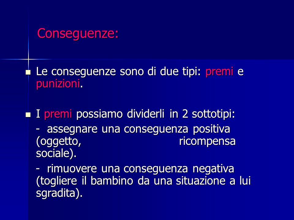 Conseguenze: Le conseguenze sono di due tipi: premi e punizioni. Le conseguenze sono di due tipi: premi e punizioni. I premi possiamo dividerli in 2 s