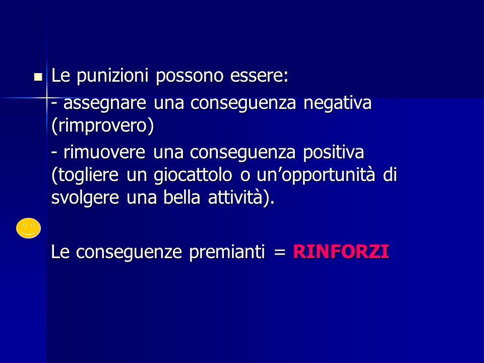 Le punizioni possono essere: Le punizioni possono essere: - assegnare una conseguenza negativa (rimprovero) - assegnare una conseguenza negativa (rimp
