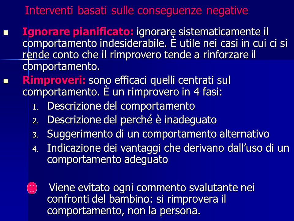 Interventi basati sulle conseguenze negative Ignorare pianificato: ignorare sistematicamente il comportamento indesiderabile. È utile nei casi in cui