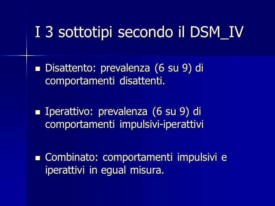 I 3 sottotipi secondo il DSM_IV Disattento: prevalenza (6 su 9) di comportamenti disattenti. Disattento: prevalenza (6 su 9) di comportamenti disatten