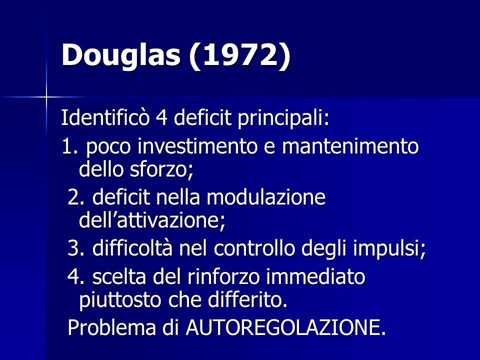 Douglas (1972) Identificò 4 deficit principali: 1. poco investimento e mantenimento dello sforzo; 2. deficit nella modulazione dell'attivazione; 2. de