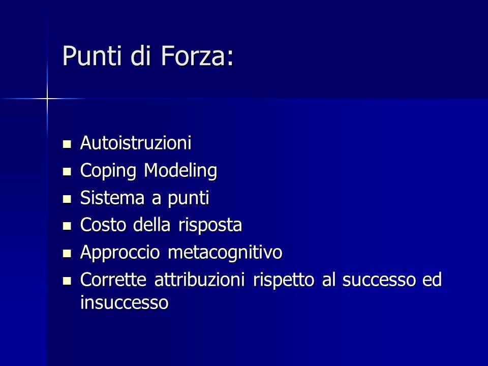 Punti di Forza: Autoistruzioni Autoistruzioni Coping Modeling Coping Modeling Sistema a punti Sistema a punti Costo della risposta Costo della rispost