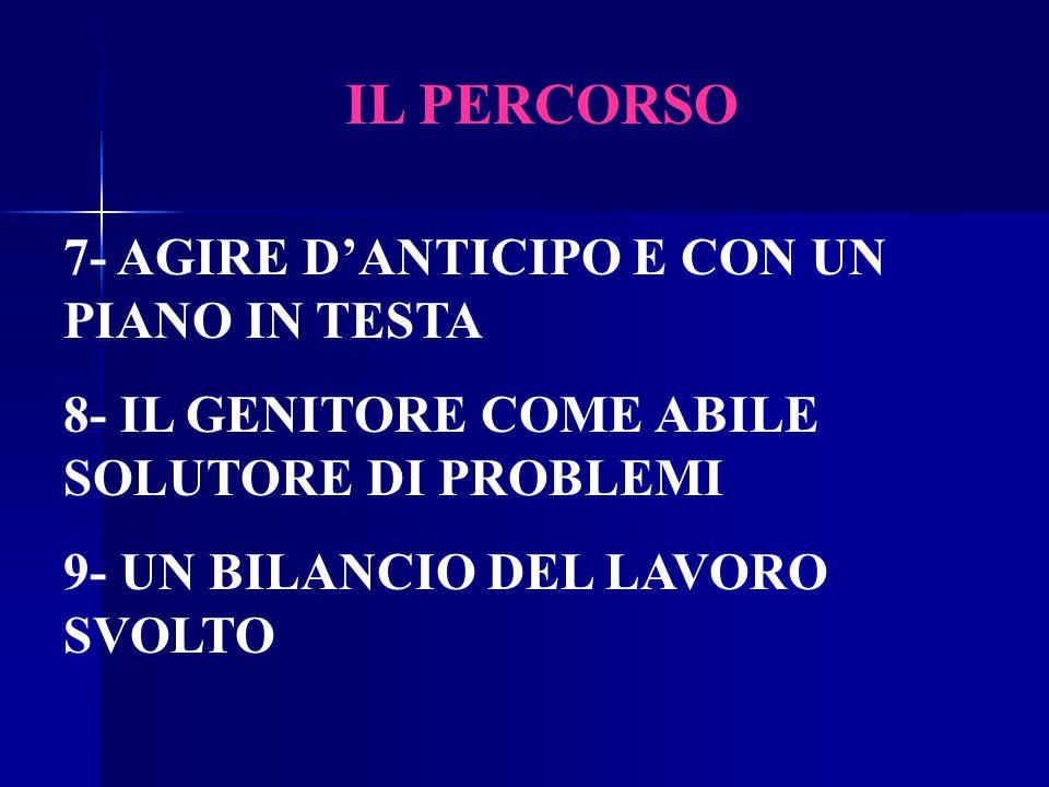 IL PERCORSO 7- AGIRE D'ANTICIPO E CON UN PIANO IN TESTA 8- IL GENITORE COME ABILE SOLUTORE DI PROBLEMI 9- UN BILANCIO DEL LAVORO SVOLTO