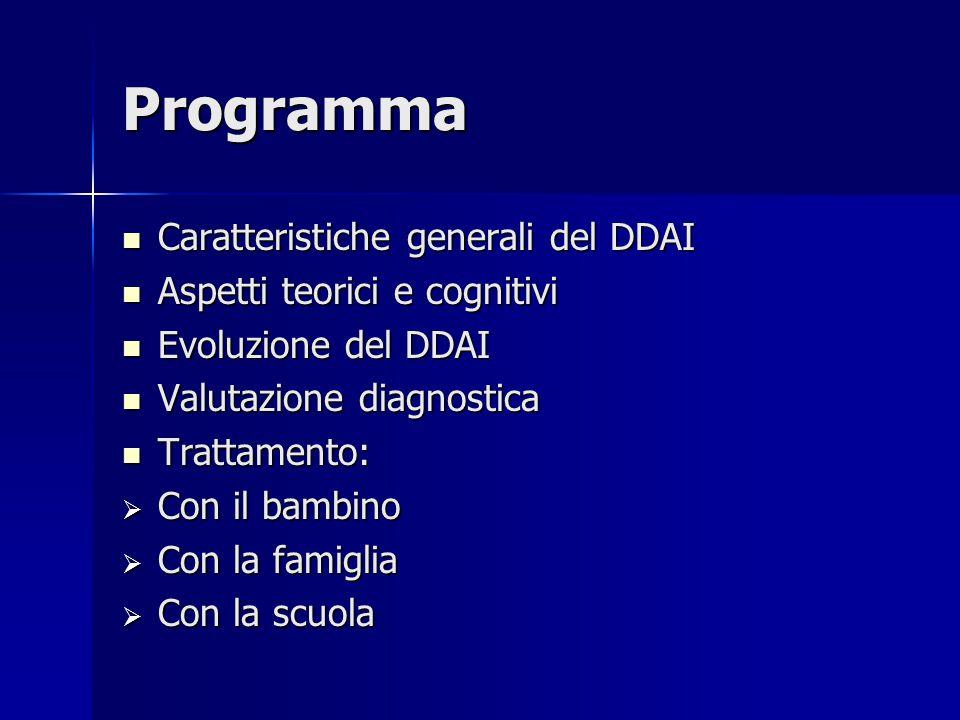 Programma Caratteristiche generali del DDAI Caratteristiche generali del DDAI Aspetti teorici e cognitivi Aspetti teorici e cognitivi Evoluzione del D