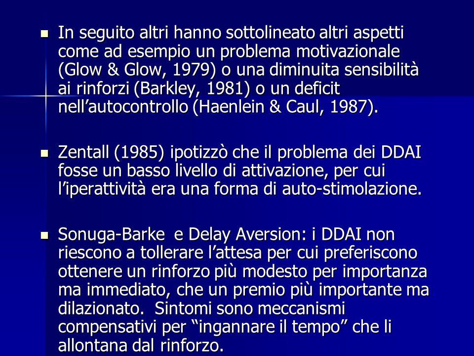 In seguito altri hanno sottolineato altri aspetti come ad esempio un problema motivazionale (Glow & Glow, 1979) o una diminuita sensibilità ai rinforz
