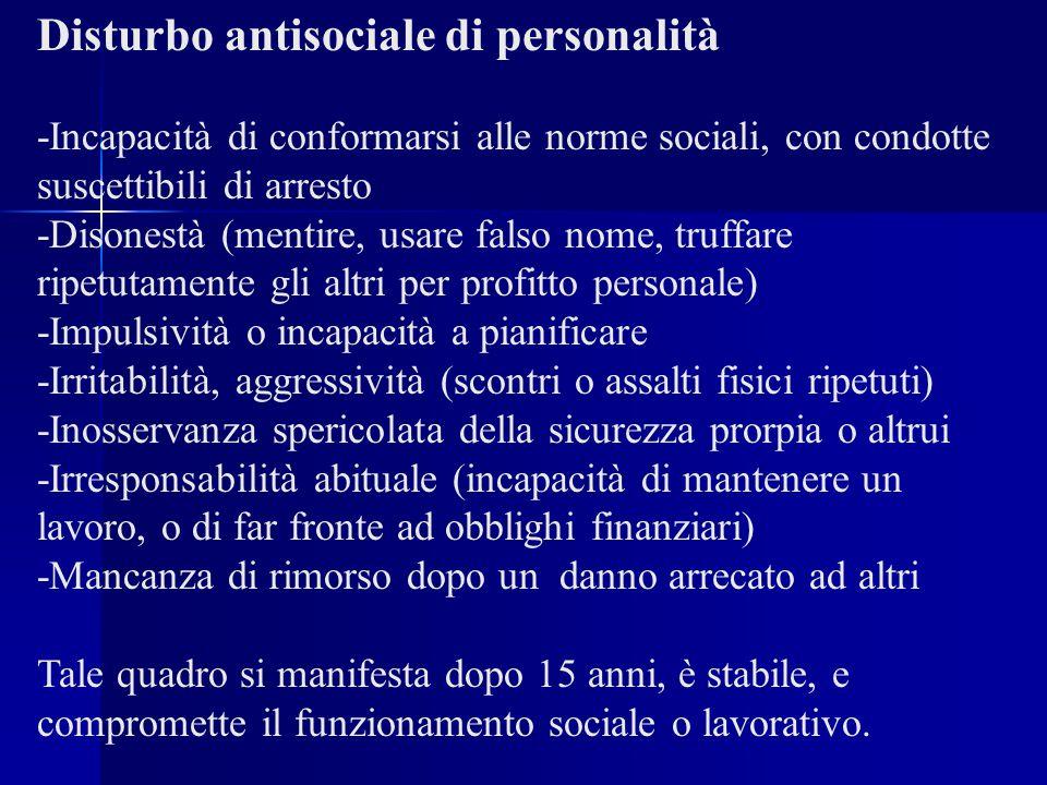 Disturbo antisociale di personalità -Incapacità di conformarsi alle norme sociali, con condotte suscettibili di arresto -Disonestà (mentire, usare fal