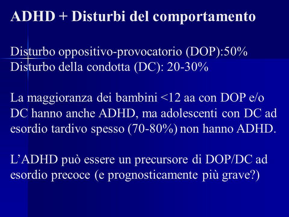 ADHD + Disturbi del comportamento Disturbo oppositivo-provocatorio (DOP):50% Disturbo della condotta (DC): 20-30% La maggioranza dei bambini <12 aa co