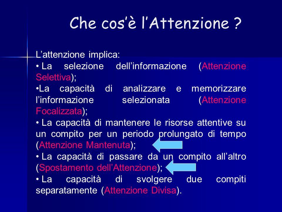 Che cos'è l'Attenzione ? L'attenzione implica: La selezione dell'informazione (Attenzione Selettiva); La capacità di analizzare e memorizzare l'inform