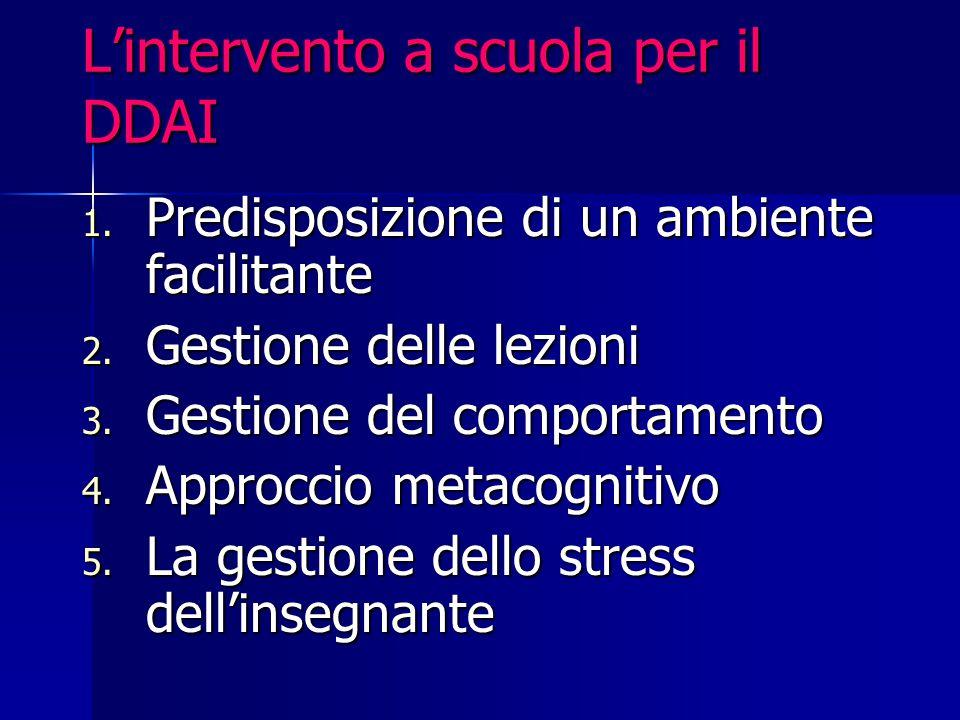 L'intervento a scuola per il DDAI 1. Predisposizione di un ambiente facilitante 2. Gestione delle lezioni 3. Gestione del comportamento 4. Approccio m