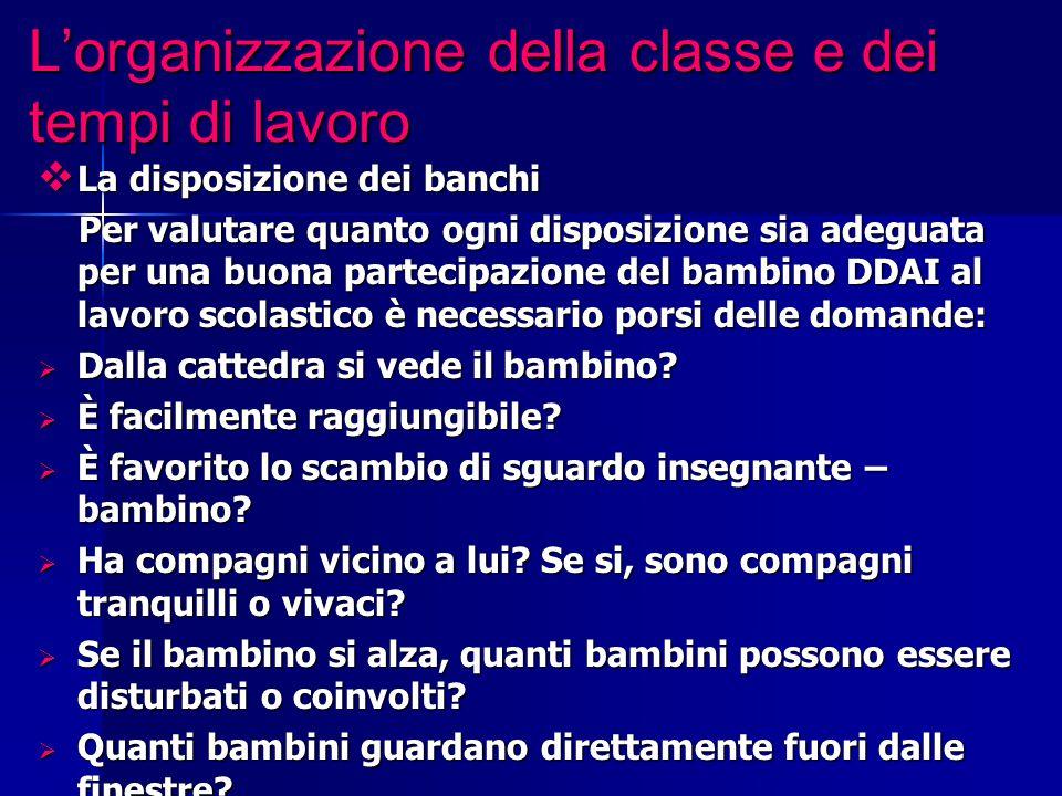 L'organizzazione della classe e dei tempi di lavoro  La disposizione dei banchi Per valutare quanto ogni disposizione sia adeguata per una buona part