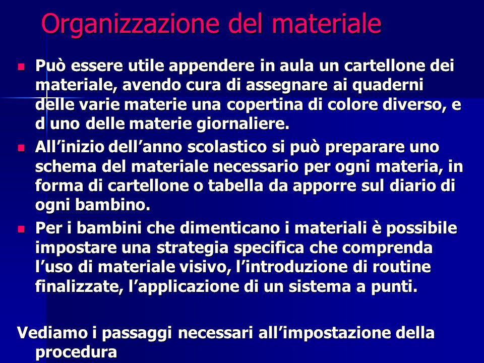 Organizzazione del materiale Può essere utile appendere in aula un cartellone dei materiale, avendo cura di assegnare ai quaderni delle varie materie