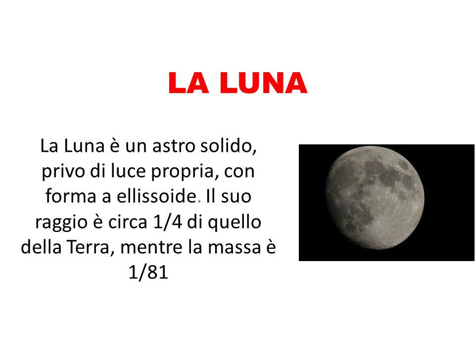 LA LUNA La Luna è un astro solido, privo di luce propria, con forma a ellissoide. Il suo raggio è circa 1/4 di quello della Terra, mentre la massa è 1