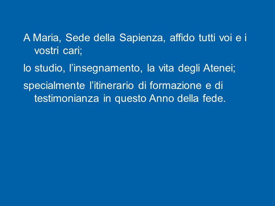 La consegna dell'Icona di Maria Sedes Sapientiae alla delegazione universitaria brasiliana da parte della Cappellania universitaria di Roma Tre, che quest'anno celebra il suo ventennale, è un segno di questo comune impegno di voi giovani universitari di Roma.