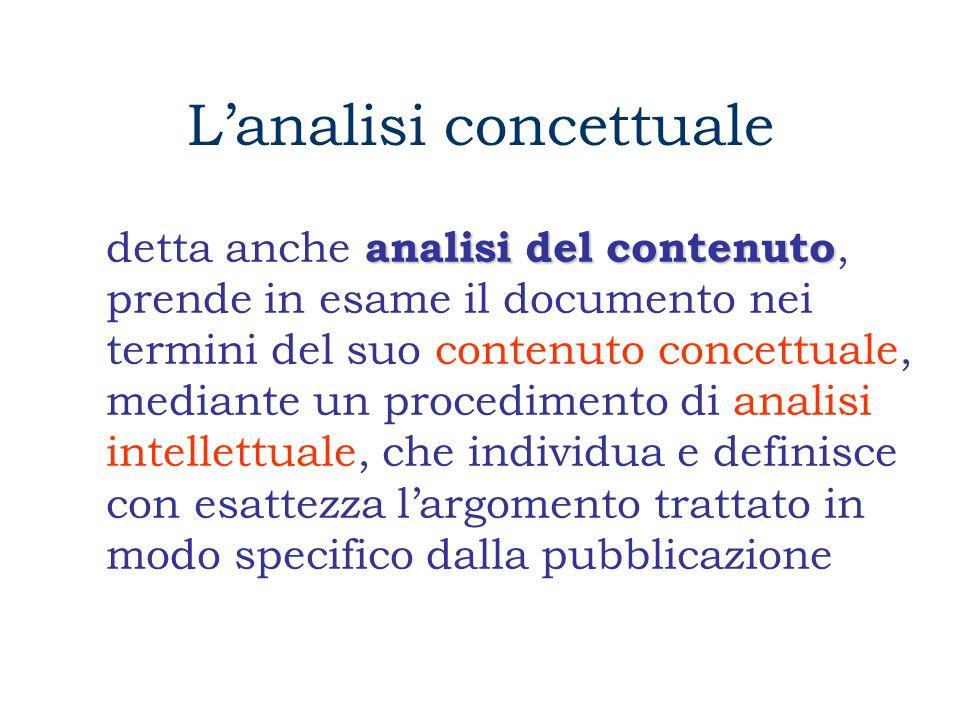 L'analisi concettuale analisi del contenuto detta anche analisi del contenuto, prende in esame il documento nei termini del suo contenuto concettuale, mediante un procedimento di analisi intellettuale, che individua e definisce con esattezza l'argomento trattato in modo specifico dalla pubblicazione