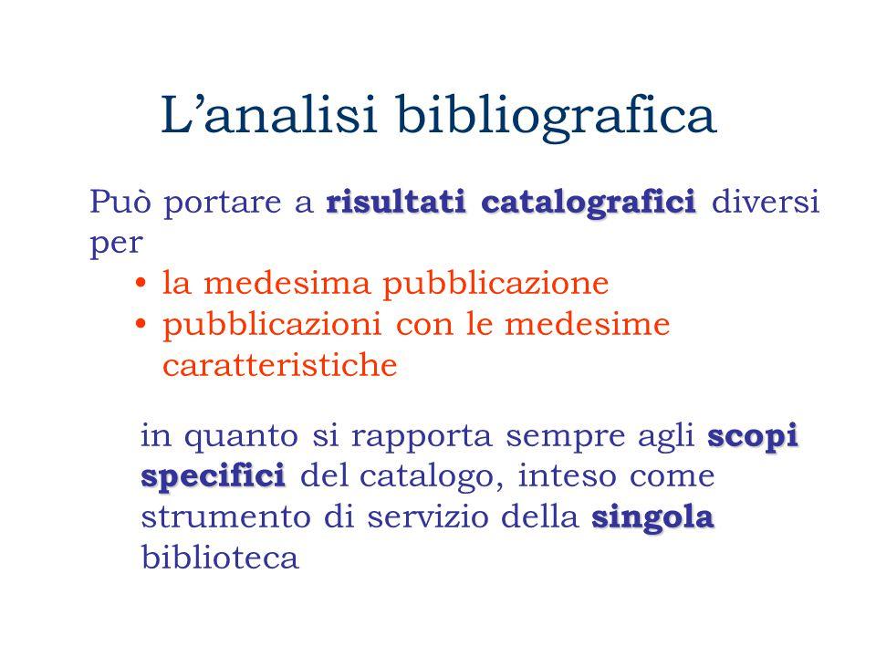 L'analisi bibliografica combinazione E' la combinazione di tre microanalisi autonome ed interdipendenti l'analisi formale