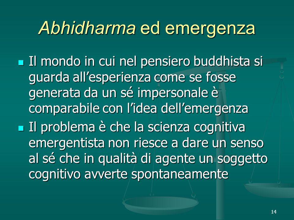 14 Abhidharma ed emergenza Il mondo in cui nel pensiero buddhista si guarda all'esperienza come se fosse generata da un sé impersonale è comparabile con l'idea dell'emergenza Il mondo in cui nel pensiero buddhista si guarda all'esperienza come se fosse generata da un sé impersonale è comparabile con l'idea dell'emergenza Il problema è che la scienza cognitiva emergentista non riesce a dare un senso al sé che in qualità di agente un soggetto cognitivo avverte spontaneamente Il problema è che la scienza cognitiva emergentista non riesce a dare un senso al sé che in qualità di agente un soggetto cognitivo avverte spontaneamente