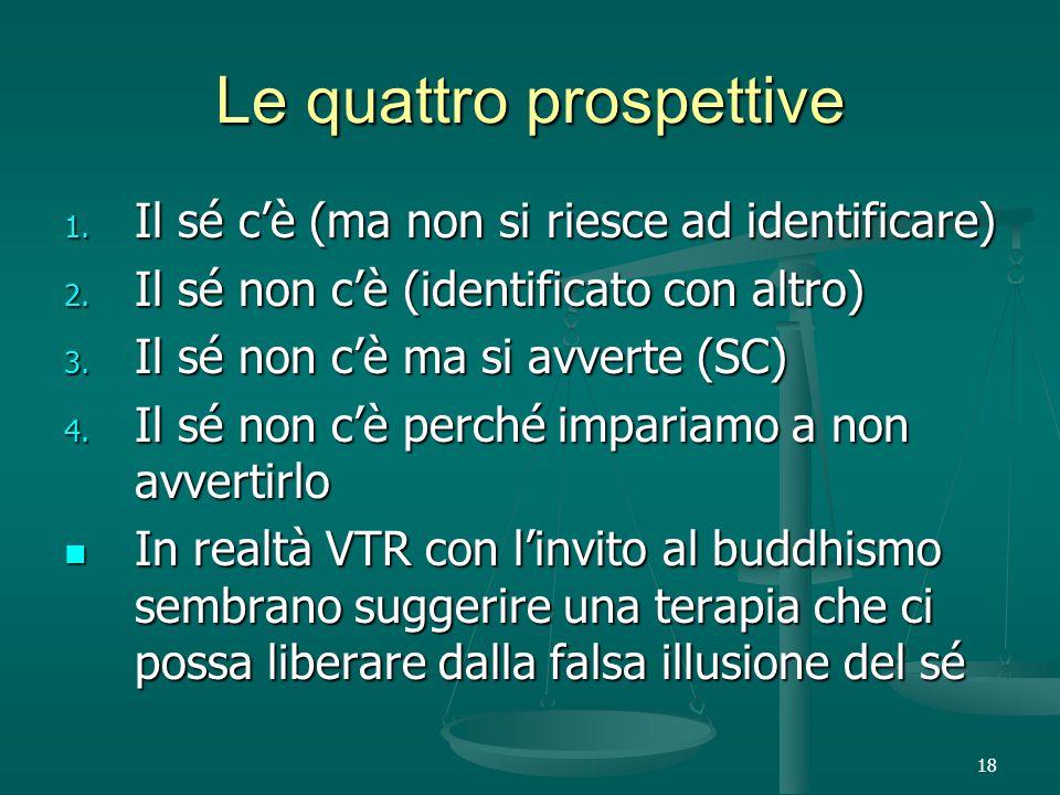 18 Le quattro prospettive 1. Il sé c'è (ma non si riesce ad identificare) 2.