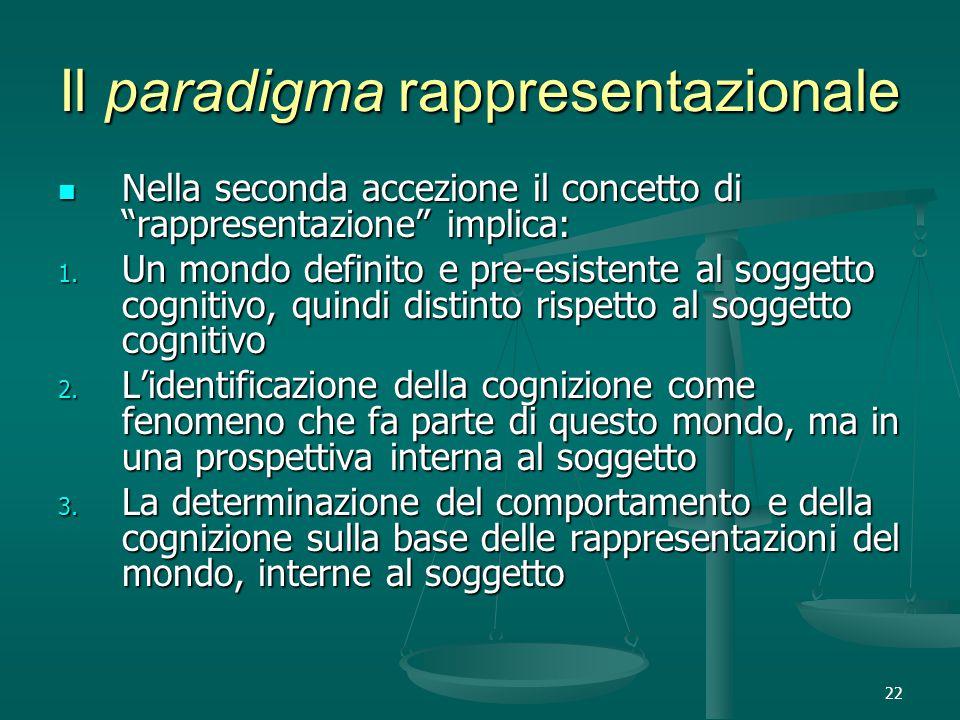 22 Il paradigma rappresentazionale Nella seconda accezione il concetto di rappresentazione implica: Nella seconda accezione il concetto di rappresentazione implica: 1.