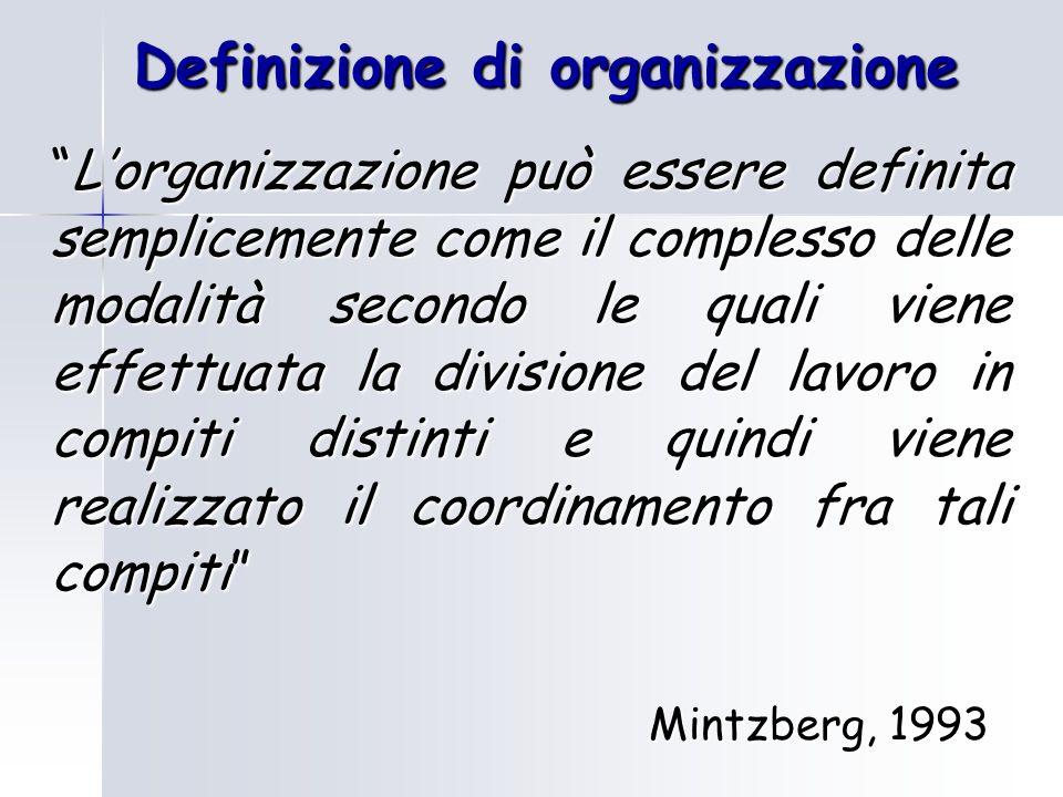 Definizione di organizzazione L'organizzazione può essere definita semplicemente come il complesso delle modalità secondo le quali viene effettuata la divisione del lavoro in compiti distinti e quindi viene realizzato il coordinamento fra tali compiti Mintzberg, 1993