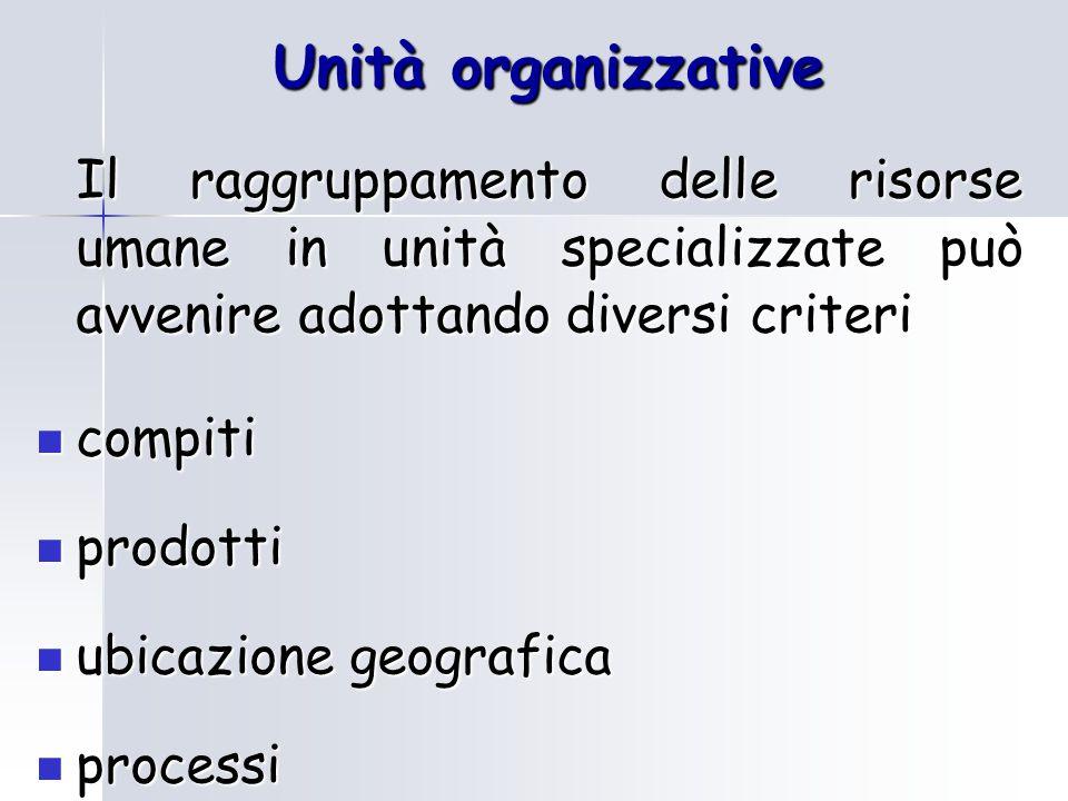 Unità organizzative Il raggruppamento delle risorse umane in unità specializzate può avvenire adottando diversi criteri compiti compiti prodotti prodotti ubicazione geografica ubicazione geografica processi processi