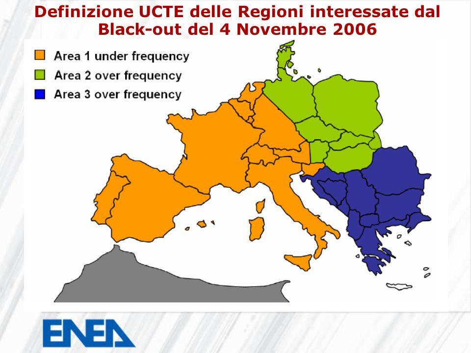 Definizione UCTE delle Regioni interessate dal Black-out del 4 Novembre 2006