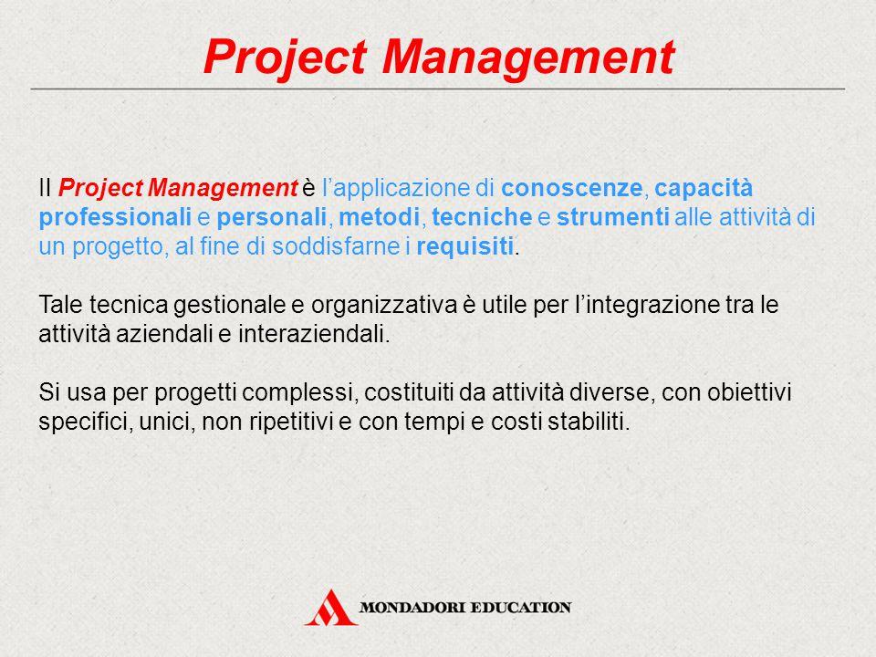 Project Management Il Project Management è l'applicazione di conoscenze, capacità professionali e personali, metodi, tecniche e strumenti alle attività di un progetto, al fine di soddisfarne i requisiti.