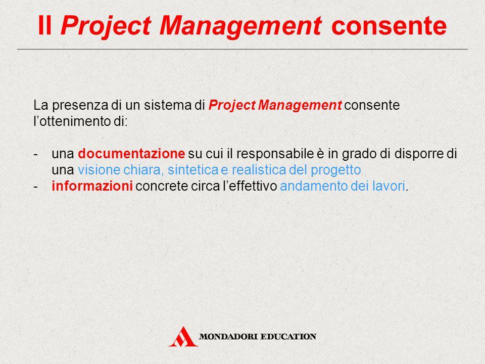 Il Project Management consente La presenza di un sistema di Project Management consente l'ottenimento di: -una documentazione su cui il responsabile è in grado di disporre di una visione chiara, sintetica e realistica del progetto -informazioni concrete circa l'effettivo andamento dei lavori.