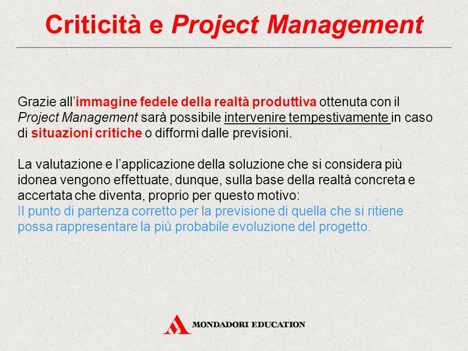Criticità e Project Management Grazie all'immagine fedele della realtà produttiva ottenuta con il Project Management sarà possibile intervenire tempestivamente in caso di situazioni critiche o difformi dalle previsioni.