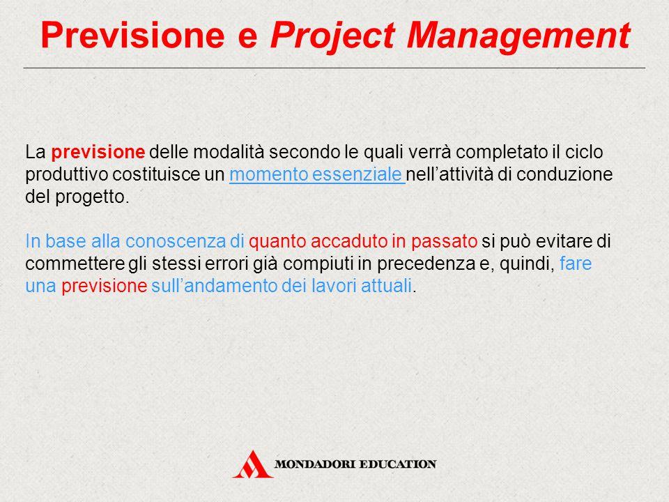 Previsione e Project Management La previsione delle modalità secondo le quali verrà completato il ciclo produttivo costituisce un momento essenziale nell'attività di conduzione del progetto.