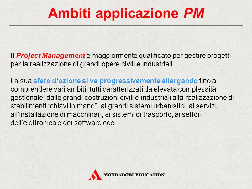 Ambiti applicazione PM Il Project Management è maggiormente qualificato per gestire progetti per la realizzazione di grandi opere civili e industriali.