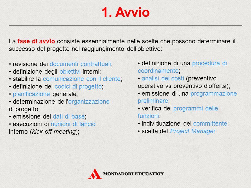 1. Avvio La fase di avvio consiste essenzialmente nelle scelte che possono determinare il successo del progetto nel raggiungimento dell'obiettivo: rev