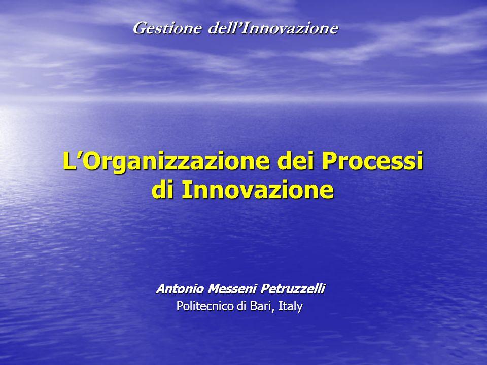 Gestione dell'Innovazione L'Organizzazione dei Processi di Innovazione Antonio Messeni Petruzzelli Politecnico di Bari, Italy