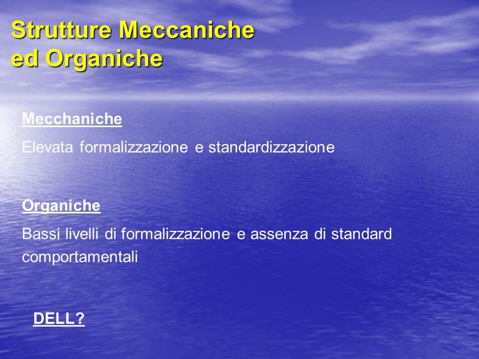 Strutture Meccaniche ed Organiche Mecchaniche Elevata formalizzazione e standardizzazione Organiche Bassi livelli di formalizzazione e assenza di standard comportamentali DELL?