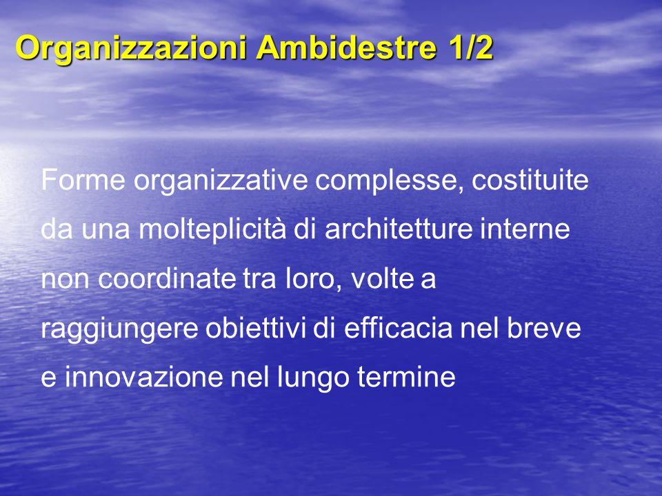 Organizzazioni Ambidestre 1/2 Forme organizzative complesse, costituite da una molteplicità di architetture interne non coordinate tra loro, volte a raggiungere obiettivi di efficacia nel breve e innovazione nel lungo termine