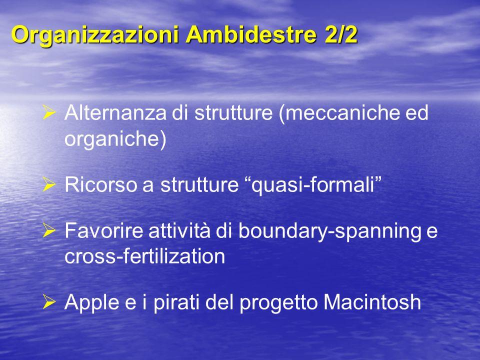 Organizzazioni Ambidestre 2/2  Alternanza di strutture (meccaniche ed organiche)  Ricorso a strutture quasi-formali  Favorire attività di boundary-spanning e cross-fertilization  Apple e i pirati del progetto Macintosh
