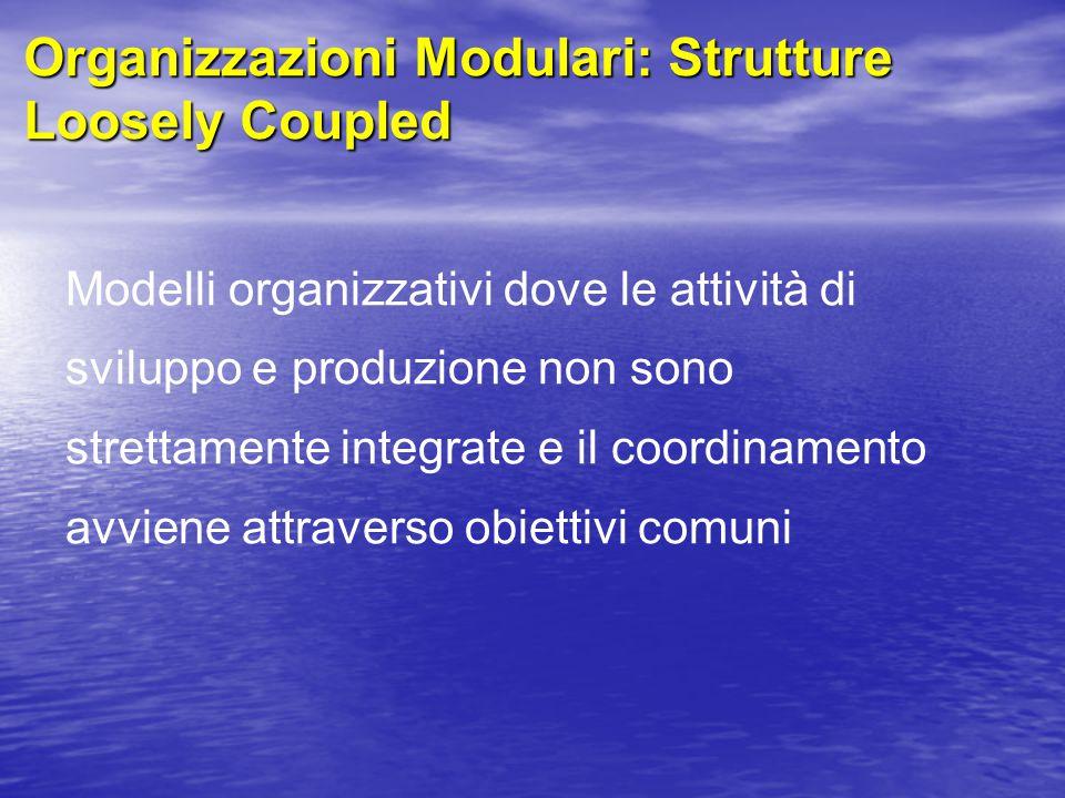 Organizzazioni Modulari: Strutture Loosely Coupled Modelli organizzativi dove le attività di sviluppo e produzione non sono strettamente integrate e il coordinamento avviene attraverso obiettivi comuni