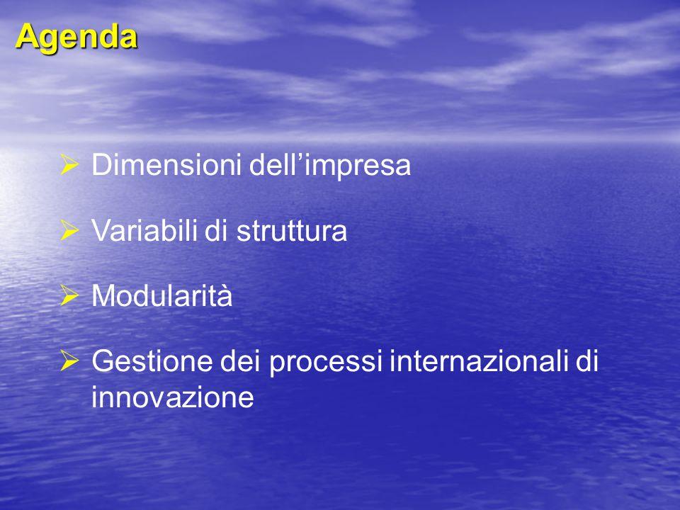  Dimensioni dell'impresa  Variabili di struttura  Modularità  Gestione dei processi internazionali di innovazione Agenda