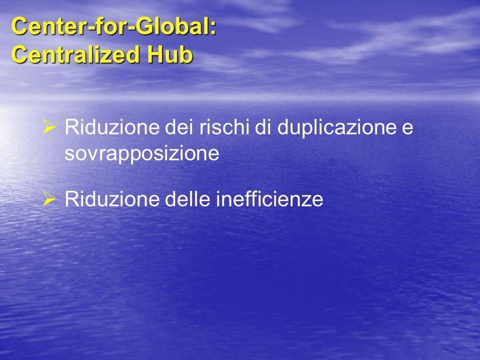 Center-for-Global: Centralized Hub  Riduzione dei rischi di duplicazione e sovrapposizione  Riduzione delle inefficienze