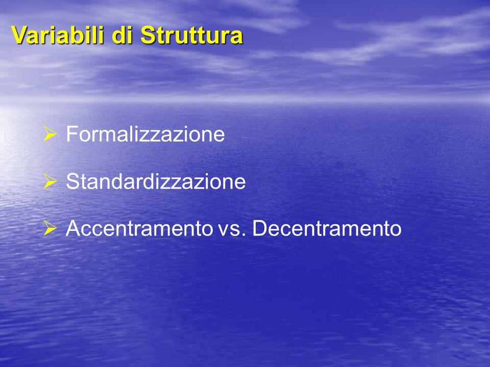 Variabili di Struttura  Formalizzazione  Standardizzazione  Accentramento vs. Decentramento